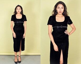 80s Black Velvet Dress Vintage Long Bow Slit Formal Dress