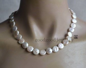 round Coin Pearl necklace,18 Inches 12 mm ivory Coin Pearl Necklace,Wedding Pearl Necklaces,bridesmaid necklace, real pearl necklace
