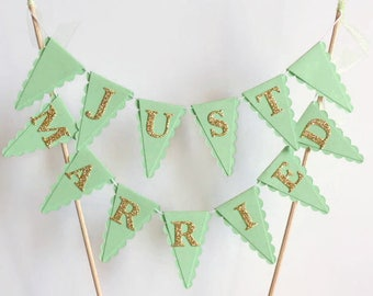 Mint Green & Gold Just Married Wedding Cake Bunting Topper