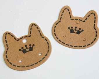 25 Adorable Cat Earring Display Cards Kraft Paper 36x36mm earring display DB73879