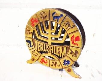 Vintage Jerusalem, letter holder, mail keeper, business card holder, napkin red blue gold, Judaica,souvenir of Jerusalem