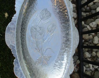 Vintage Hand Wrought Rodney Kent Oval Aluminum Tulip Tray/Serving Dish