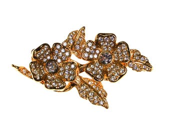 Joan Rivers Gold Flower Brooch with Rhinestones, Clip Earrings, Convertible, Designer Signed Vintage Jewelry
