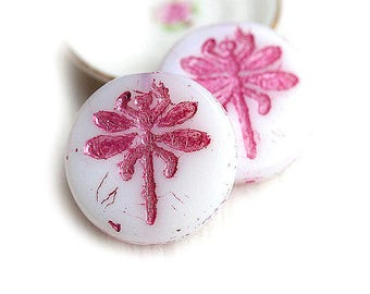 Czech dragonfly beads White Pink glass beads 23mm large round tablet shape beads Earrings pair - 2Pc - 0829