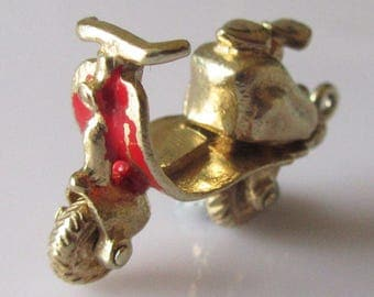 Gold Scooter and Engine Enamel Charm Opens