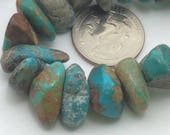Natural Turquoise Flat Tumbling Pebble Beads, Full Strand G52214 Orig. US 23.00