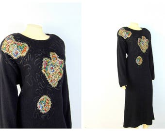 Desperately Seeking A Curvy Girl Vintage Sweater Dress 80s 90s Nilani Knit Dress Gold Beads & Embroidery Sz Large fits Modern L XL XXL 1X