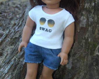 Sale- 2 piece outfit/fits American Girl Doll clothes/18- inch doll clothes/fits AG doll/denim shorts/doll shirt/doll shorts/Swag