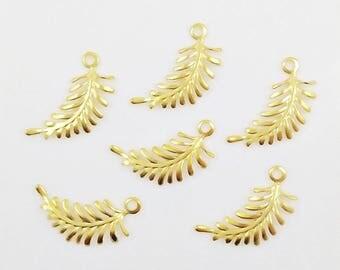 Gold Ferns, Brass Fern Leaf, Leaf Charm, Left Facing Fern, Leaf Stamping, Brass Fern Leaves, Earring Drop, 29mm x 12mm - 6 pcs. (gd336)