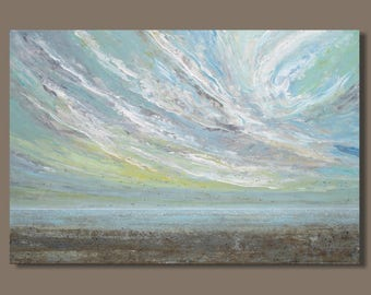 FREE SHIP large landscape painting, abstract painting, beach painting, wispy clouds, sunset, nova scotia art, bay of fundy, impressionist