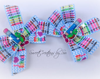 Back to school pinwheel bow boutique bows party gift handmade fashion