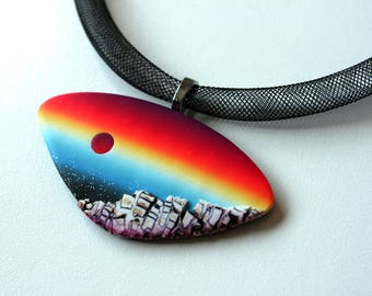 Polymer Clay Pendant, Necklace, Polymer clay jewelry, DIY, wearable art, polymer clay, handmade jewellery, OOAK necklace, landscape necklace