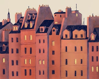 Paris Buildings Illustration Print