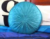 Vintage 1970s Mid Century Modern Aqua Blue Tufted Round Retro Sofa Bed Throw Pillow