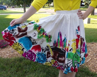 hand painted 1950's MEXICAN CIRCLE SKIRT 50's full xxs xs 23 waist