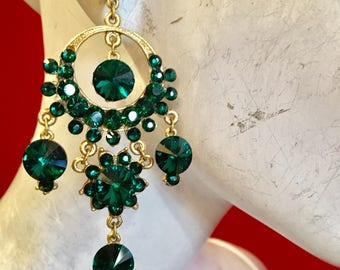Golden Emerald  chandelier earrings
