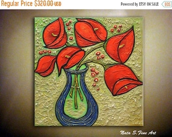 Summer SALE Calla Lilies Painting, Original Abstract Painting, Textured Lilies Artwork, Red Bouquet Painting, Modern Wall Art, Floral Artwor