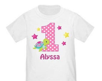 ON SALE Girls Sea Turtle Personalized Birthday Shirt - ANY Age