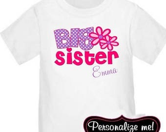 ON SALE Big Sister Pink Purple Floral Personalized T Shirt Big Sister tshirt