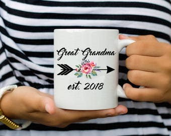 New Great Grandma Arrow Floral Watercolor Grandma Gift Coffee Mug