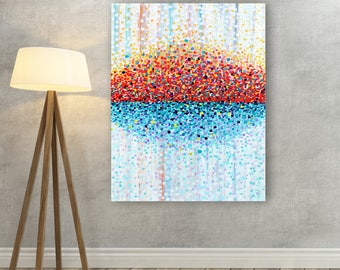 Bring Me Sunshine Canvas Print - White Orange Red & Blue Sunny Canvas Picture - Summery Wall Art Canvas Print Orange and Turquoise Wall Art