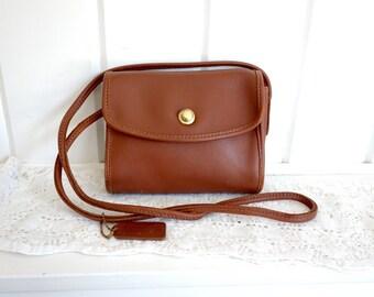 Vintage  1980s Classic Shoulder Leather Coach Saddle Tan Nutmeg Brown Station Crossbody  Flap Bag Satchel  Made in USA