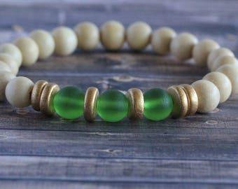 Shamrock Green Sea Glass Wooden Bead Stacker Bracelet | Boho Bracelet | Bead Bracelet | Women's Bracelet | Gifts for her | Wood Bracelet