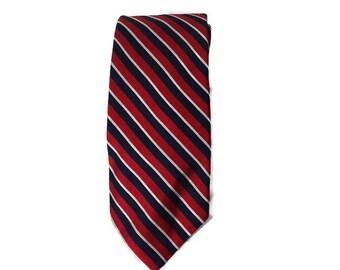 Bert Pulitzer Mens Tie Necktie Red Blue Silver Stripe Made in USA