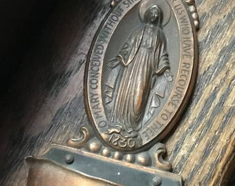 Copper Religious Holy Water Font Mother Mary
