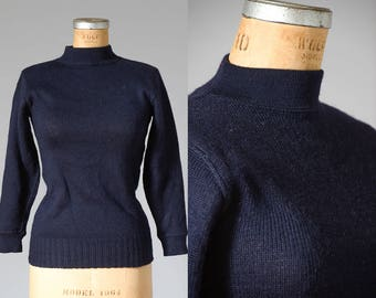 1960s Korean War USN US Navy Deck Wool Sweater Navy Blue Mock Turtleneck Deadstock