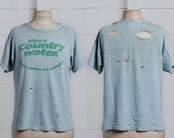 70s Thrashed T Shirt Myers Country Water Green Champion Blue Bar Torn Up Distressed T Shirt