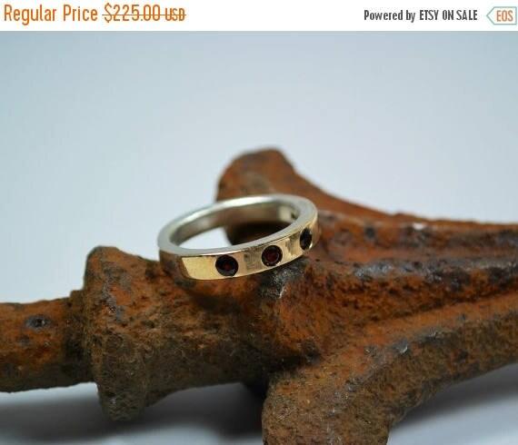 ON SALE Garnet Ring - Modern Gold Ring - Modern Silver Ring - Gold Garnet Ring - Silver Garnet Ring - Modern Garnet Ring 18K Gold and Sterli