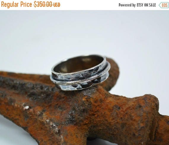 ON SALE Mens Wedding Band - Mens Hammered Silver Wedding Band - Artisan Promise Ring for Him - Sterling Silver - Mens Rings
