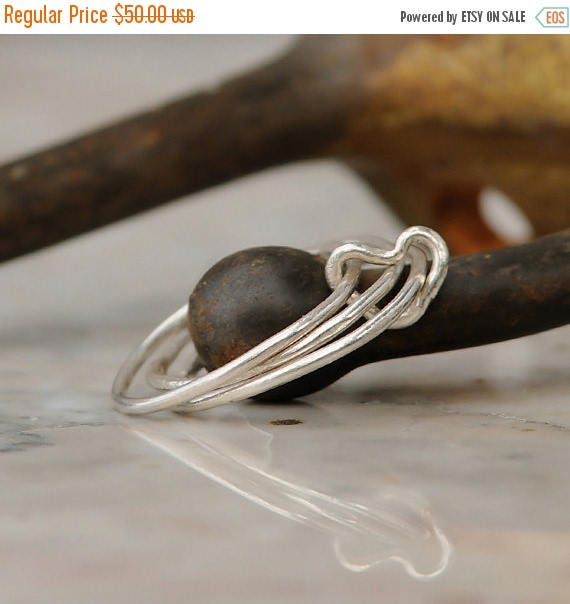 ON SALE Stacking Rings - Sterling Silver Stackable Ring Set - Stacking Ring Set - Heart Ring