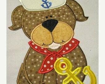 ON SALE Sailor Dog 02 Machine Applique Embroidery Design - 4x4, 5x7 & 6x8