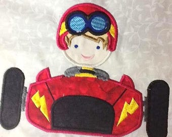 ON SALE Race Car Boy Machine Applique Embroidery Design - 4x4, 5x7 & 6x8