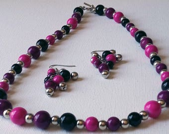 Black, Pink, and Purple Beaded Necklace and Earrings Set with Sterling Silver spacer beads