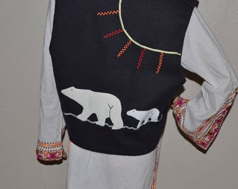 Ivalu Rankin black wool  blend vest with the polar bears applique on the back. Embroidered vest Size M. Made in Canada