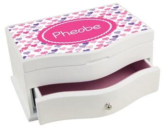 Personalized Happy Hearts Princess Jewelry Box Hot Pink Purple Pattern Little Hearts Dancing jewef-pat-412