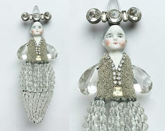 original art doll ornament, mixed media assemblage, antique crystal chandelier bulb cover, by Elizabeth Rosen