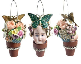 Flower Pot Head, handmade Christmas ornament, mixed media assemblage, altered art doll, doll head ornament, flower child, by Elizabeth Rosen