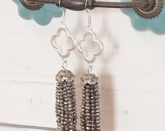 Silver Tassel Earrings, Grey Tassel Earrings, Quatrefoil Earrings, Tassel Earrings, Shimmering Slate Tassel Earrings