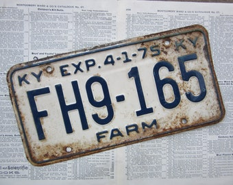 Vintage License Plate Kentucky 1975 Farm KY Blue & White Heavily Distressed Metal Rusted Aged Patina Tag Man Cave Rat Rod Car Truck Antique