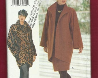 15% OFF SALE Butterick 3557 Lined Coat Loose Fitting Dropped Shoulder with Pads Taped to a High Low Hemline Sizes 6 - 12 UNCUT