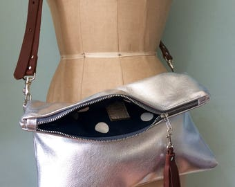 Silver leather purse, silver fold over clutch, evening bag, leather cross body bag
