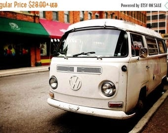 Christmas in July White VW Bus Photo, Vintage Volkswagon Photography, Retro Hipster Boho Decor, Hippie Bus Print, Dorm Livingroom Bedroom Ho