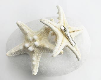 Boho Jewelry 2 pcs Starfish Seashell Barrette Hair Clip Handmade Gift by VERO for SeaStyle