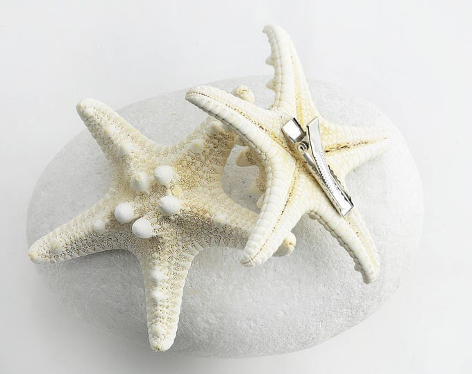 Boho Jewelry Starfish Seashell Barrette Hair Clip Handmade Gift by VERO for SeaStyle