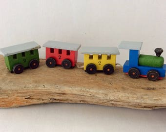 Miniature - Train - Dollhouse - Christmas Miniature - wooden train - Vintage - Christmas decor - collectible - made in Germany