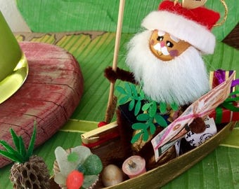 Christmas Ornament - Santa - Hawaiian Christmas - Holiday Decor - Merry Christmas - Hawaii St.Nick - handmade - original design